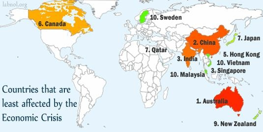 Countries least affected